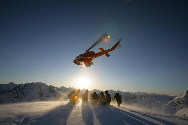 sci con elicottero